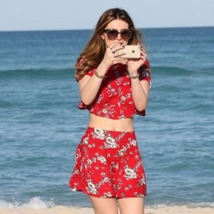 Forever 21 Tops - Red Floral Print Crop Top + Skirt Set